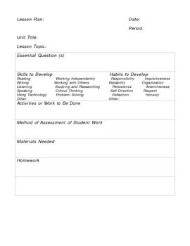 Lesson Plan Template For All Subject Areas