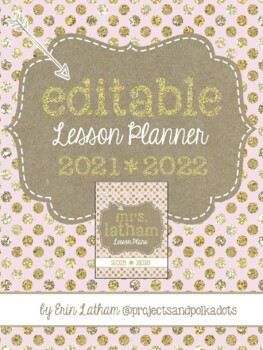 Lesson Planner: Pink and Gold for 2015-2016