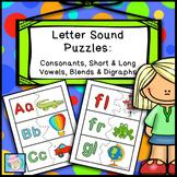 Letter Sound Puzzles:  Consonants, Short & Long Vowels, Bl