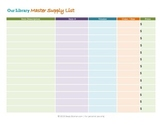 Library Master Supply List Printable