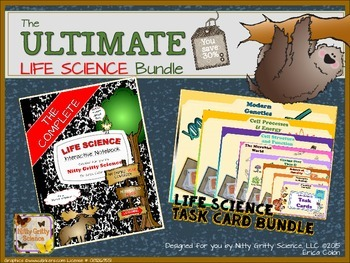 Life Science ULTIMATE BUNDLE - Interactive Notebook + 600 Task Cards for a YEAR!