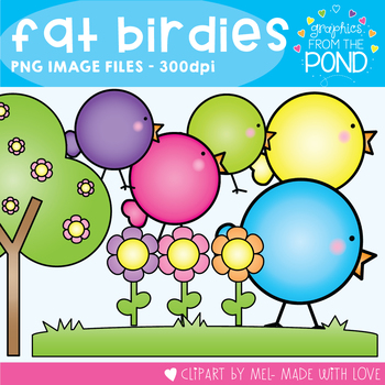 Spring Lil' Fat Birds - Graphics for Commercial or Personal