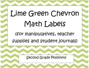 Lime Green Chevron Math Labels
