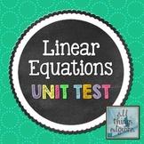 Linear Equations Unit Test