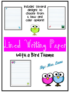 Lined Writing Paper Template (With a Bird Theme!)