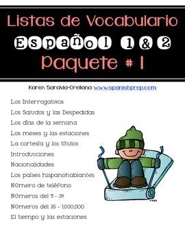 Lista de Vocabulario Espanol 1 & 2: Paquete # 1