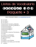 Lista de Vocabulario Espanol 1 & 2: Paquete #3