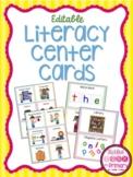 Literacy Center Pocket Chart Cards (editable)