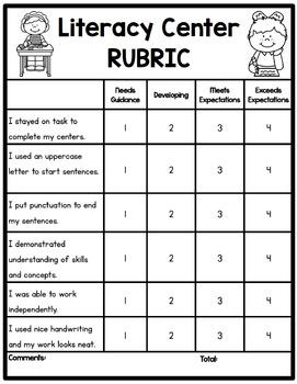 Literacy Center Rubric