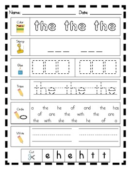 Literacy Center Word Work: Printables for Fry's List of Sight Words {1-25}