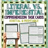 Literal Vs. Inferential Comprehension Task Cards { Inferen