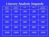 Literary Analysis: Jeopardy PowerPoint for Literary Analysis