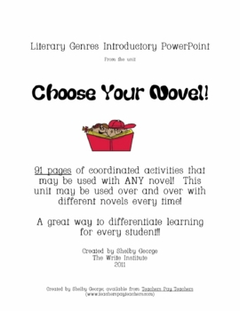 Literary Genres Introductory PowerPoint for Choose Your No
