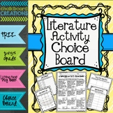 Literature Activity Choice Board: 3rd -5th Grades