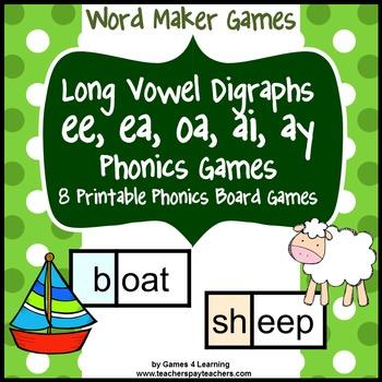 Long Vowel Digraphs Phonics Games ee ea oa ai ay