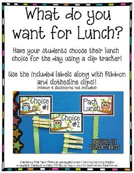 Lunch Choice Clip Tracker: Cute Owl Themed
