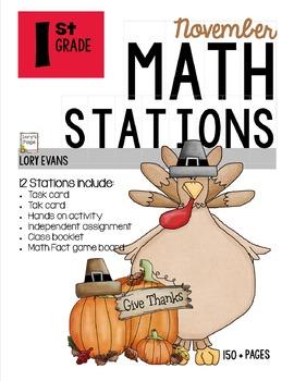 MATH STATIONS - Common Core -Grade 1 - NOVEMBER
