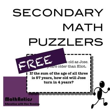 MATH: Secondary Math Puzzlers (FREE)