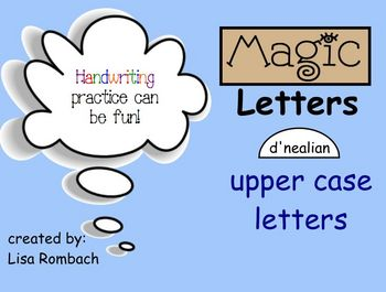 Magic Upper Case LETTERS d'nealian Handwriting SmartBoard Lessons