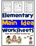 Elementary Main Idea Worksheets