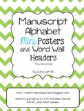 Manuscript Alphabet Mini Posters & Word Wall Headers {With
