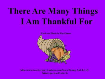 Many Things I Am Thankful For song for ActivBoard