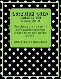 Maps and Location: Location Quiz and Study Guide