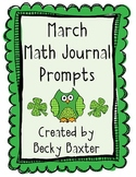 March Math Journal Prompts- Kindergarten Common Core