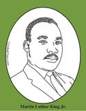 Martin Luther King Jr. Clip Art, Coloring Page or Mini Poster