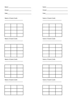 Matching Game Answer recording sheet