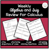 Math Before Calculus Weekly Review for Calculus AB