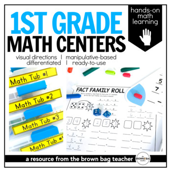 Math Centers {1st Grade} 24 Centers, Labels, and Visual Directions