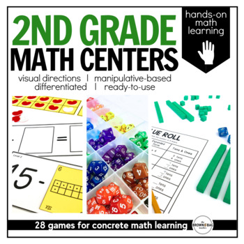 Math Centers {2nd Grade} 22 Centers, Labels, and Visual Directions