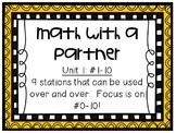 Math Centers - Math with a Partner - Unit 1: #0-10
