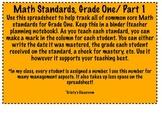 Math Common Core Standards Checklist, Grade 1