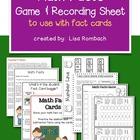 Math Facts Game & Recording Sheet FREEBIE
