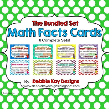 Math Facts Cards - Bundled 8-Set Pack