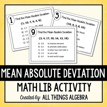 Mean Absolute Deviation (MAD) - Math Lib Activity!