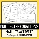 Multi-Step Equations: Math Lib Activity