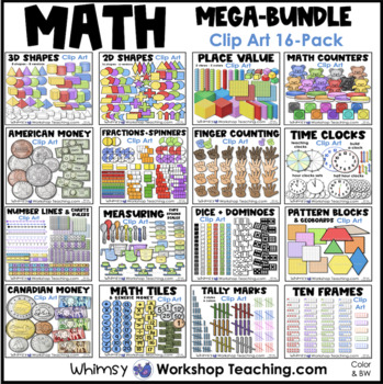 Math Mega Bundle Clip Art (16 Sets 600 graphics) Whimsy Workshop Teaching