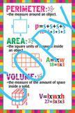 Math - Perimeter, Area and Volume Poster - 18x24