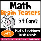 Math Problems and Math Brain Teasers Cards Set A