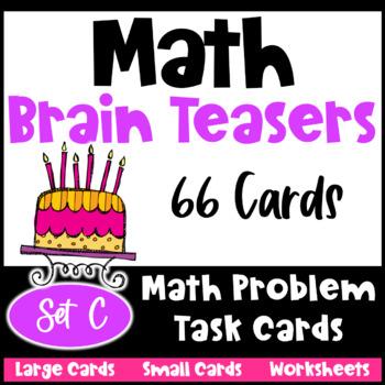 Math Problems and Math Brain Teasers Cards Set C