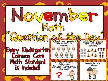 Math Question of the Day- Kindergarten Common Core for November
