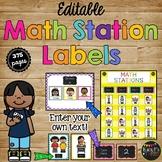 EDITABLE BRIGHT Chalkboard Math Station LABELS for Organiz
