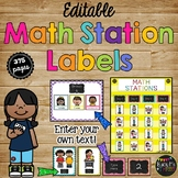 EDITABLE BRIGHT Chalkboard Math Station LABELS for Organiz