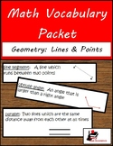 Math Vocabulary Packet - Geometry: Lines & Angles