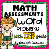 Math Assessments: Word Problems with IEP or RTI goals