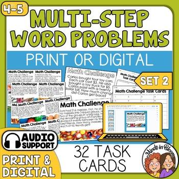Math Word Problem Task Cards - Multi-Step