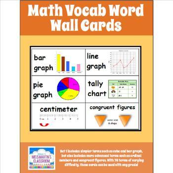 Math Word Wall Vocab Cards